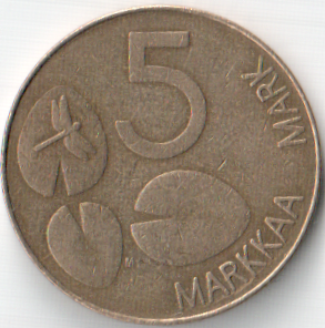 Монета 5 марок 1994 (Финляндия, Финский монетный двор)