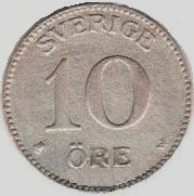 Монета 10 эре 1913 (Швеция)