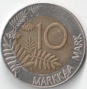 Монета 10 марок 1993 (Финляндия, Финский монетный двор)