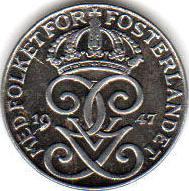 Монета 25 эре 1947 (Швеция)