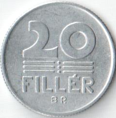 Монета 20 филлеров 1975 (Венгрия)