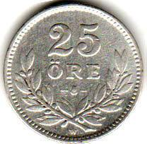 Монета 25 эре 1927 (Швеция)