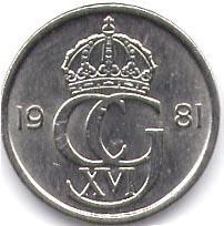 Монета 25 эре 1981 (Швеция)