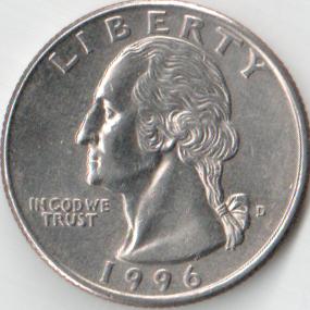 Монета 25 центов (квортер доллар) 1996 (США, Денвер)