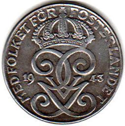 Монета 2 эре 1943 (Швеция)