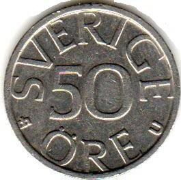 Монета 50 эре 1978 (Швеция)